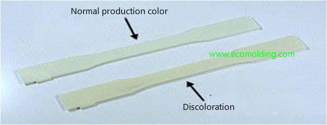 Discoloration plastic injection molding defect